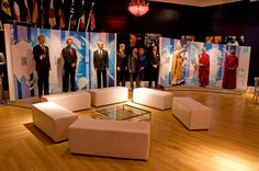 Leather banquet seating in the World Stage Ballroom at Madame Tussauds