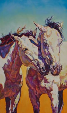 """Artists of Pennslyvania: Colorful Contemporary Horse Art, Equine Painting """"Twins"""" by Contemporary Animal Artist Patricia A. Griffin"""