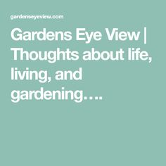 Gardens Eye View | Thoughts about life, living, and gardening….