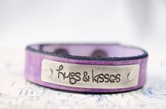 Hugs and Kisses   Adjustable Leather Snap Cuff with by Cjohannesen, $23.00