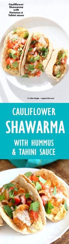 Cauliflower Shawarma - Shawarma spice roasted Cauliflower wraps with hummus and tahini dressing   VeganRicha.com #vegan #mediterranean #recipe