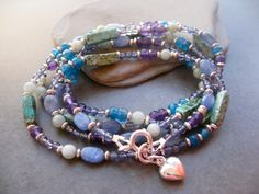 Blue Long necklace Gemstone long Necklace by Sylviajewelry on Etsy, $175.00