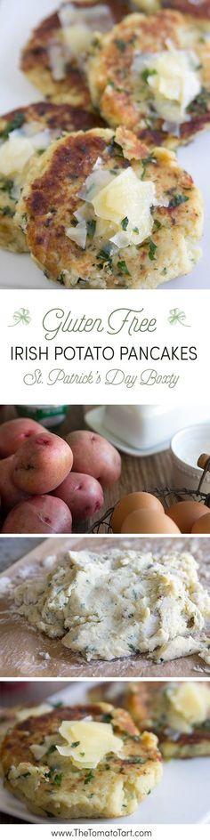 Gluten Free Irish Potato Pancakes, AKA Boxty. Serve at your St. Patrick's Day Party. from http://www.thetomatotart.com
