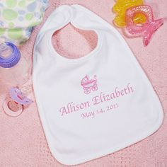 New Baby Girl Personalized Baby Carriage Baby Bib Personalized Pillow Cases, Personalized Baby Gifts, Newborn Baby Gifts, Baby Girl Gifts, Baby Girl 1st Birthday, Baby Carriage, New Baby Girls, Mother And Baby, Baby Bibs