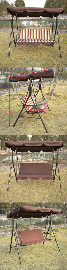 Swings 79700: Outdoor 3 Person Patio Swing Canopy Awning Yard Furniture  Hammock Heavy Duty New