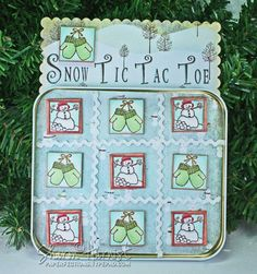 **would make a cute card** 12 Inchies of Christmas-Snow TicTacToe {Paperfections}