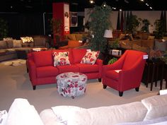Stanton Showroom - Sofa, chair, ottoman and accent pillows. A great example of bold colors.