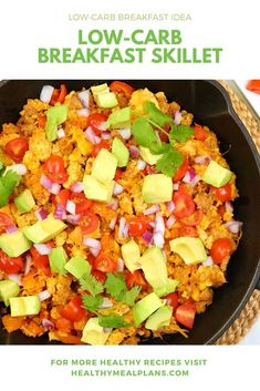 This incredible breakfast skillet is loaded with flavour thanks to turkey sausage, bell pepper, cherry tomatoes, avocado and smoked paprika! Breakfast Skillet, Low Carb Breakfast, Breakfast Options, Breakfast Recipes, Turkey Sausage, Plant Based Eating, Recipe Details, Smoked Paprika, Bell Pepper