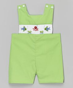 Smocked or Not Green Smocked Fish & Octopus Smocked Shortalls - Infant & Toddler | zulily