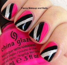 Black, Silver,  Hot Pink Nails