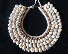 Sea Shell Nautical Necklace Brown Beads Adorn Papua New Guinea Style Fashion Style