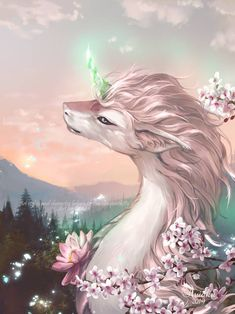 :Wisps of a Dream:. by Aviaku on DeviantArt Cute Fantasy Creatures, Mythical Creatures Art, Mythological Creatures, Magical Creatures, Beautiful Dragon, Beautiful Fantasy Art, Mystical Animals, Cute Animal Drawings, Wolf Drawings