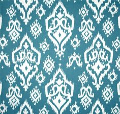 Ikat Fabric Ocean Blue & White Sand, Fabric by the Yard, Premium Wide Cotton Duck, Drapery Fabric, Pillows, Home Decor Fabric, Craft Fabric