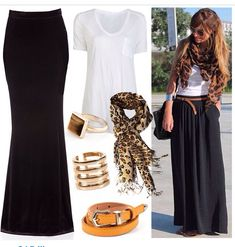 Maxi skirt with Infiniti scarf... Leopard print! Throw on a denim jacket, shoes: flats... Ready for Sunday brunch!
