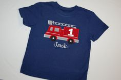 Fire Truck Appliqued Birthday Shirt or Onesie. $20.00, via Etsy.