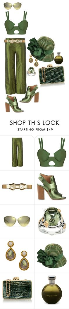 """""""Crazy Shade of Green & a Sharp Hat"""" by blujay1126 ❤ liked on Polyvore featuring Romeo Gigli, Marni, Maison Margiela, Linda Farrow, Barbara Bixby, Julie Vos, Swan, Wilbur & Gussie and Catherine Malandrino"""