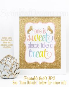One is Sweet Take A Treat - Rainbow Unicorn Party Favor Sign, Printable Unicorn Birthday Party Decorations, Girl First Birthday Party Sign - SprinkledDesigns.com