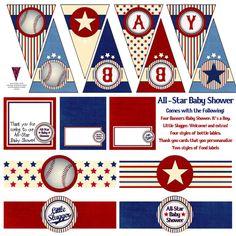 Printable All Star Baseball Baby Shower Decoration Mega Pack (Instant  Download)