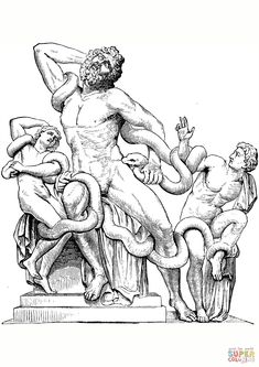 Old engraving of the statue Laocoon and His Sons , a monumental. Hellenistic Art, Famous Sculptures, Dragon Tattoo Back Piece, Tattoo For Son, Sacred Geometry Tattoo, Japanese Dragon Tattoos, Day Of The Dead Art, Human Figure Drawing, Mini Canvas Art
