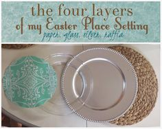 the four layers a table setting, a raffia place mat, a silver charger, a glass dinner plate,  and decorative wrapping paper for under a glass plate
