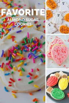My favorite almond sugar cookies are easy, roll out, cut out sugar cookies! They are delicious with frosting, decorated with icing or topped with sprinkles! Roll Out Sugar Cookies, Cut Out Cookies, Fun Cookies, Spring Recipes, Easter Recipes, Soft Almond Cookies, Sweet Roll Recipe, Cookie Recipes, Dessert Recipes