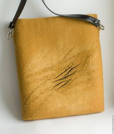 """Купить Сумка валяная """"Короткий разговор"""" - желтый, авторская ручная работа, сумка через плечо Handmade Bags, Handbags, Purses, Cool Stuff, Sewing, Felted Bags, Crafts, Style, Totes"""