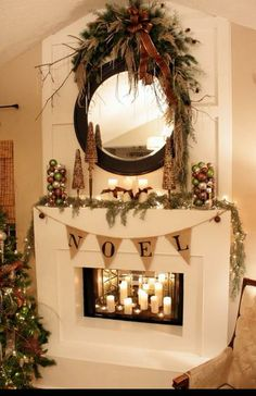 Christmas mantel decor; vaulted ceiling over fireplace