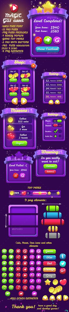 Magical 9 PNG Game Interface Set Template PSD. Download here: http://graphicriver.net/item/magical-9-png-game-interface-set-part-2/15093905?ref=ksioks