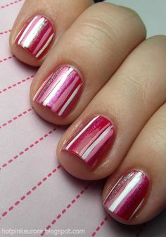 Striped Nails - Perfect for Valentines Day, Go To http://www.likegossip.com to get more Gossip News!