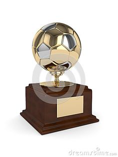 3d rendered soccer ball trophy  on white background