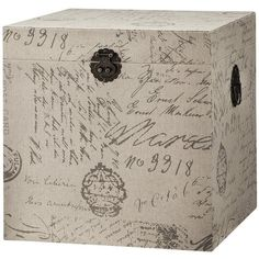Accent Furniture Storage Trunk Script Print ($100) ❤ liked on Polyvore