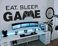 The Eat Sleep Game Wall Decal it is easy to create a new look and change the style of any gaming room in a matter of minutes. It´s Game On! Gamer Bedroom, Boys Bedroom Decor, Kids Bedroom Boys, Bedroom Ideas, Boy Bedroom Designs, Teenage Bedroom Decorations, Boys Bedroom Furniture, Bedroom Beach, Boys Room Design