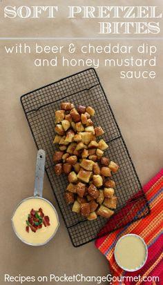 Soft Pretzel Bites with Beer & Cheddar Dip and Honey Mustard Sauce :: Recipes on PocketChangeGourmet.com