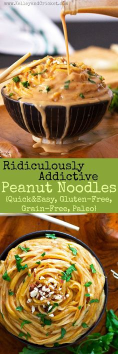These ridiculously addictive peanut noodles are so good you. These ridiculously addictive peanut noodles are so good you wont be able to stop eating them but dont worry- they are super healthy! Gluten-free grain-free and paleo they make a super quick Paleo Recipes, Asian Recipes, Cooking Recipes, Paleo Sauces, Gluten Free Vegetarian Recipes, Vegetarian Menu, Vegetarian Italian, Thai Recipes, Mexican Recipes