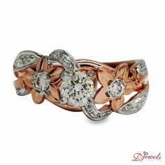 Floral White & Rose Gold Diamond Solitaire Engagement Ring in Hm Gold Rose Gold Diamond Ring, Diamond Solitaire Rings, Diamond Engagement Rings, Buy Loose Diamonds, White Gold Jewelry, Designer Engagement Rings, Ring Designs, Wedding Rings, Flower Shape