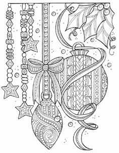 Magical Christmas Tree Adornments Coloring Page Color a Christmas coloring page containing everything but the tree! This gorgeous Christmas adult coloring page features ornaments, beaded garland, and more. Christmas Coloring Sheets, Printable Christmas Coloring Pages, Printable Adult Coloring Pages, Coloring Pages To Print, Coloring Book Pages, Coloring Pages For Kids, Illustration Noel, Christmas Drawing, Christmas Tree Zentangle