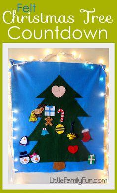 Felt Christmas Tree Countdown. Fun advent calendar for Christmas!
