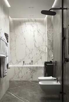 Bathroom cladding - on Behance Best Bathroom Designs, Bathroom Design Luxury, Modern Bathroom Design, Contemporary Bathrooms, Modern Master Bathroom, Small Bathroom, Black Marble Bathroom, White Bathrooms, Bathroom Showers
