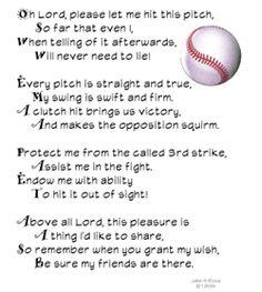 Baseball Prayer - could change it for softball too.
