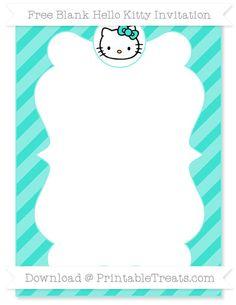 Free Turquoise Diagonal Striped Blank Hello Kitty Invitation