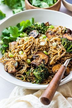 This gluten free mushroom soba noodle stir fry is an easy-to-make + nourishing noodle dish that's perfect for any weeknight dinner or quick lunch! Soba Noodle Recipe Healthy, Soba Recipe, Asian Noodle Recipes, Asian Recipes, Indonesian Recipes, Kitchen Recipes, Cooking Recipes, Kid Recipes, Cooking Ideas