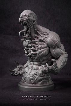 Original sculpture art by Dom Qwek. Monster Concept Art, Monster Art, Creature Concept Art, Creature Design, Arte Horror, Horror Art, Fantasy Creatures, Mythical Creatures, Statues