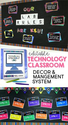This computer lab décor/management system includes everything you need to set up and manage an organized and cohesive technology classroom or computer lab. With bulletin board displays for computer shortcuts in PC and Mac, editable lab rules posters, bann Computer Lab Rules, Computer Lab Decor, Elementary Computer Lab, Computer Lab Classroom, Computer Teacher, Computer Lessons, Technology Lessons, Teaching Technology, Computer Technology