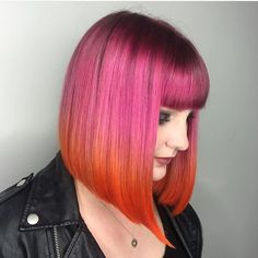 awesome pink and orange hair color Pink And Orange Hair, Pink Hair, Pink Yellow, Teal Orange, Blue Green, Bright Hair Colors, Coloured Hair, Great Hair, Pretty Hairstyles