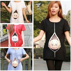 14be5373be5cc Details about Maternity Pregnancy T-shirt Top Funny PEEK-A-BOO baby shower  gift Peeking baby