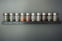 SheriChelle: Ikea Ribba picture ledges are awesome! They have so many uses for every room in your house....  IKEA Ribba picture ledge as a spice rack. Love how this pinner wrote on it.  Rajtan spice jars work too they are $3.49/4 Pack 5oz. Shown are the Dropper jars $2.99/2 3oz