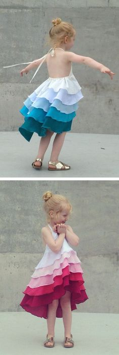 Girls Flamenco Party Dress in Aqua Blue Ombre