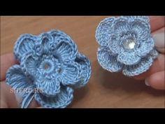 Вязание Цветов Урок 6 Вязать крючком Цветок украшенный камнем в серединке - YouTube