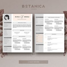 Feminine Resume Template & Cover Letter for by BotanicaPaperieShop