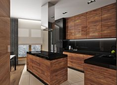 The Nuiances of Rosewood Cabinet Doors - decorhomesideas Galley Kitchen Remodel, Loft Kitchen, Kitchen Room Design, Modern Kitchen Design, Kitchen Layout, Home Decor Kitchen, Kitchen Furniture, Interior Design Kitchen, Modern Interior Design